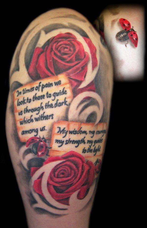 roses and ladybugs tattoo