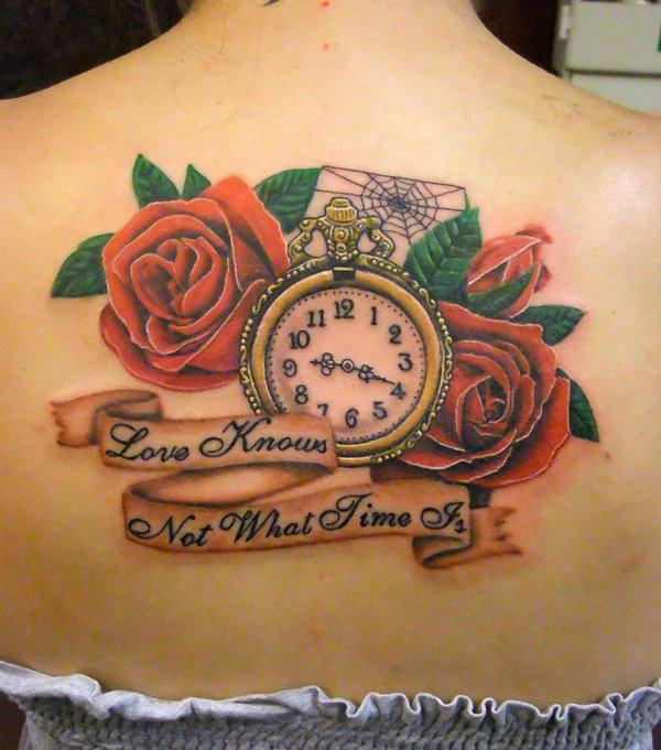 Clock and roses tattoo on back