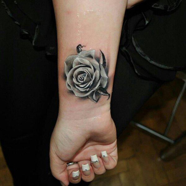 Grey Rose wrist tattoo