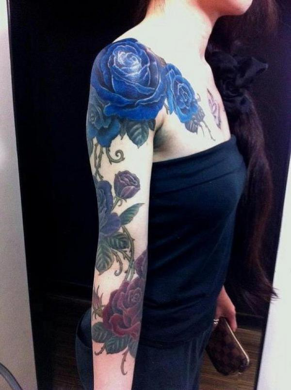 Blue and Purple Roses Tattoo