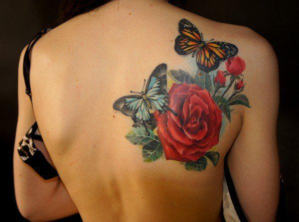 Butterflies and Roses tattoo on back