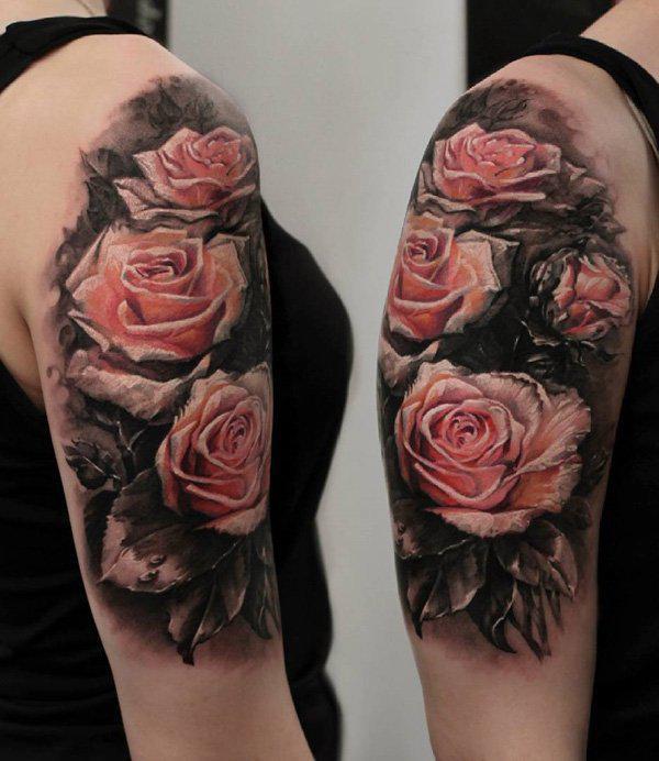 3D Pink rose tattoo half sleeve tattoo