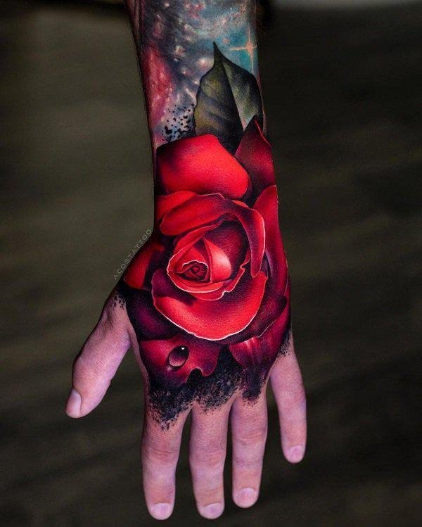 3D Rose tattoo on hand