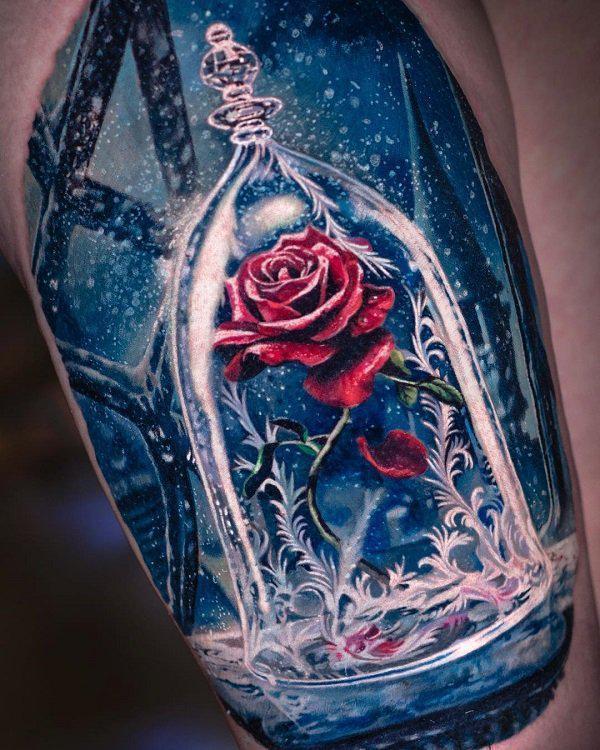 Rose in glass tattoo