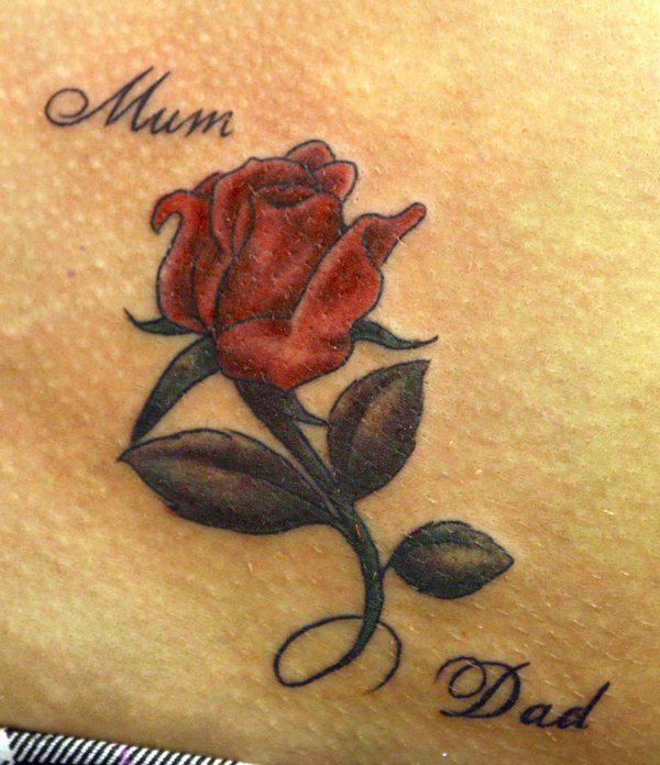 Colored rose tattoo for mum and dad
