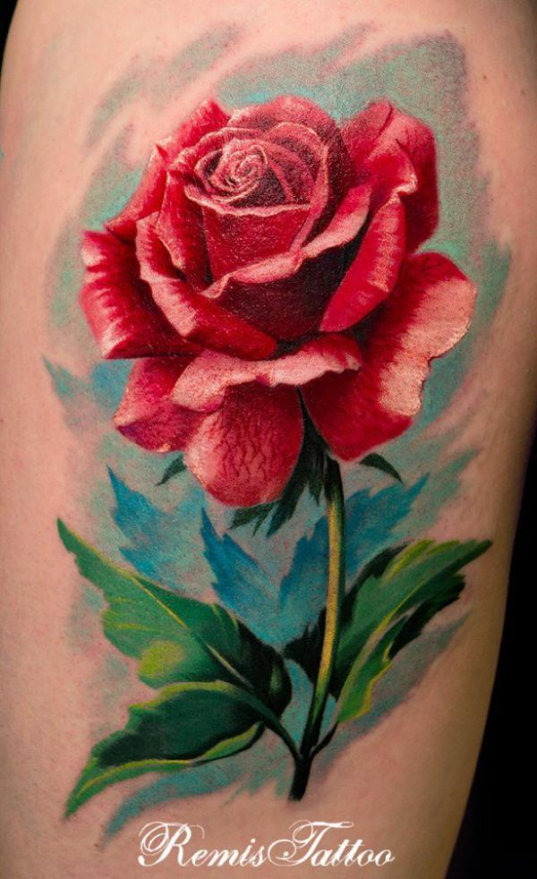 Painting style Rose Tattoo