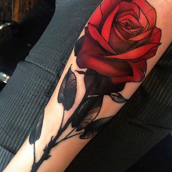 amezing red rose tattoo