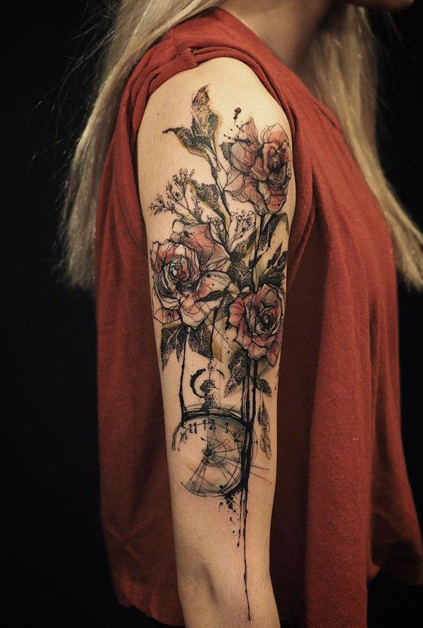 rose flower with watch tattoo in illustrative style