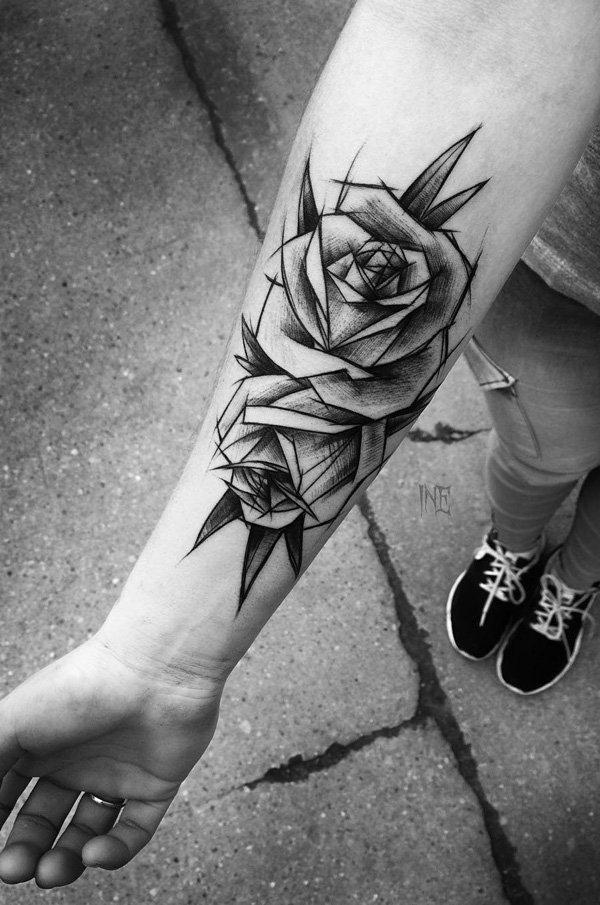 Illustration black rose forearm tattoo