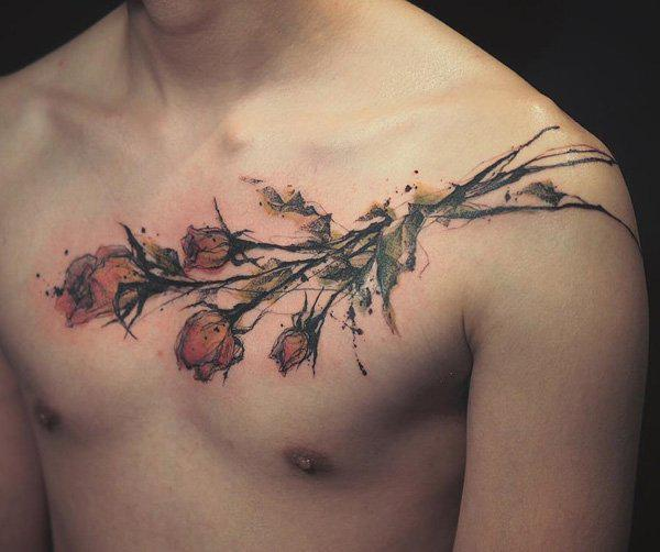 illustrition-rose-chest-tattoo-for-men-99
