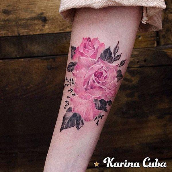 Playful Pink rose tattoo