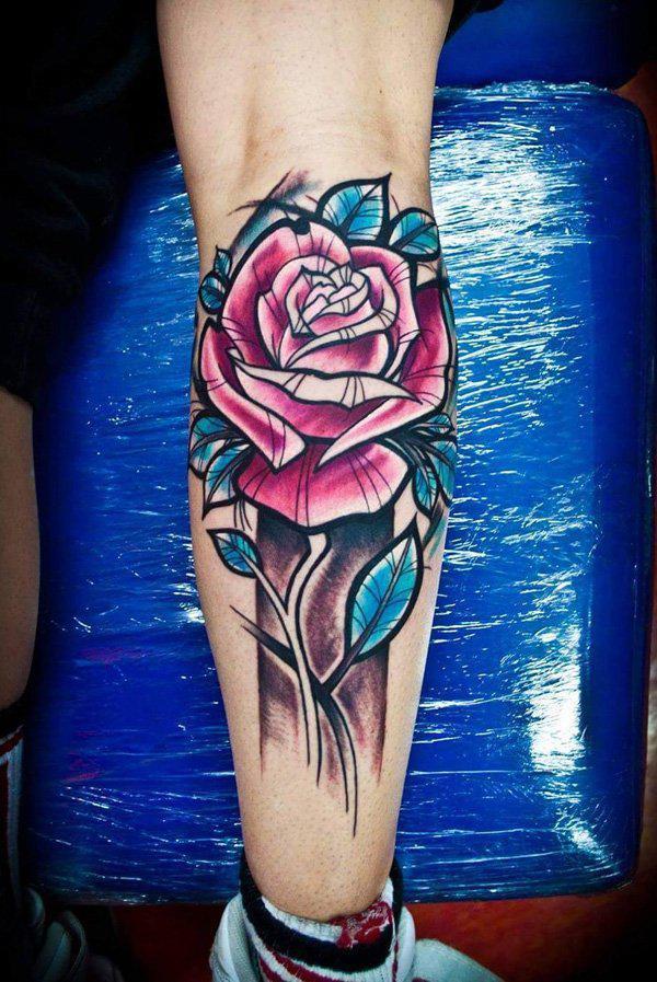 Rose calf tattoo