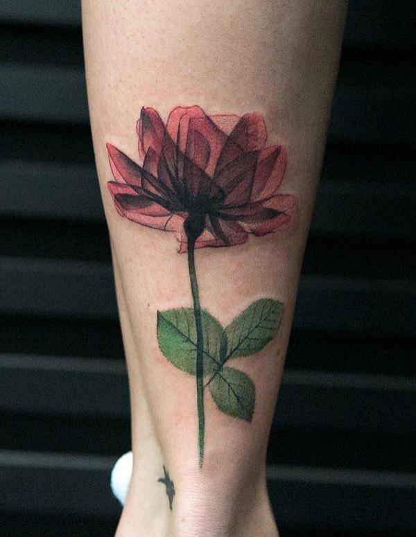 rose calf-tattoo for girl