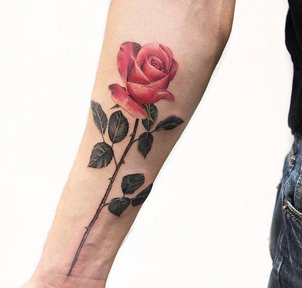 c6239e392 Rose forearm tattoo - 120+ Meaningful Rose Tattoo Designs ...