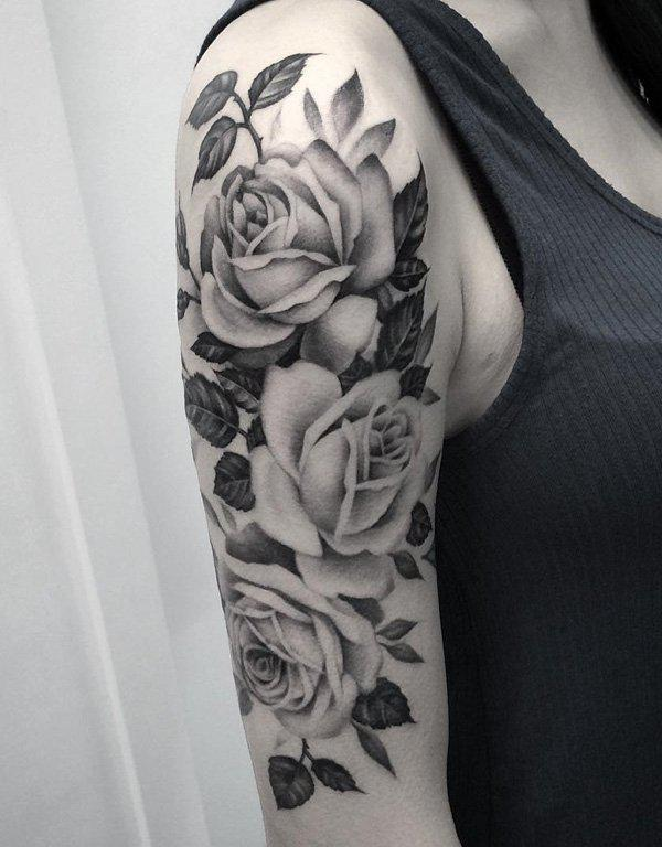 Three Roses in grey scale