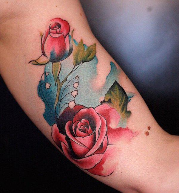 Two Roses tattoo in watercolor