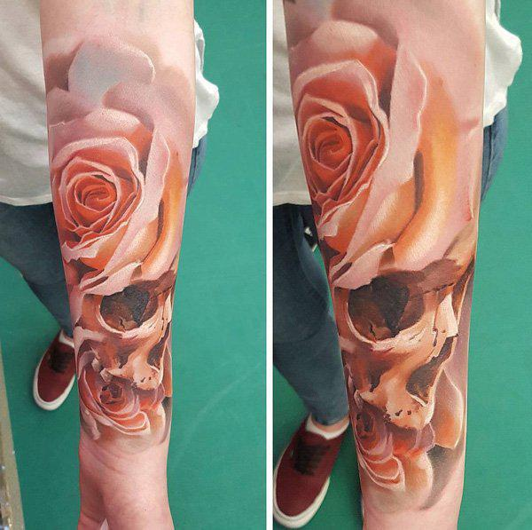 Pink Rose with skulled petals