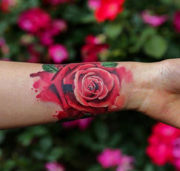 Rose wristband tattoo