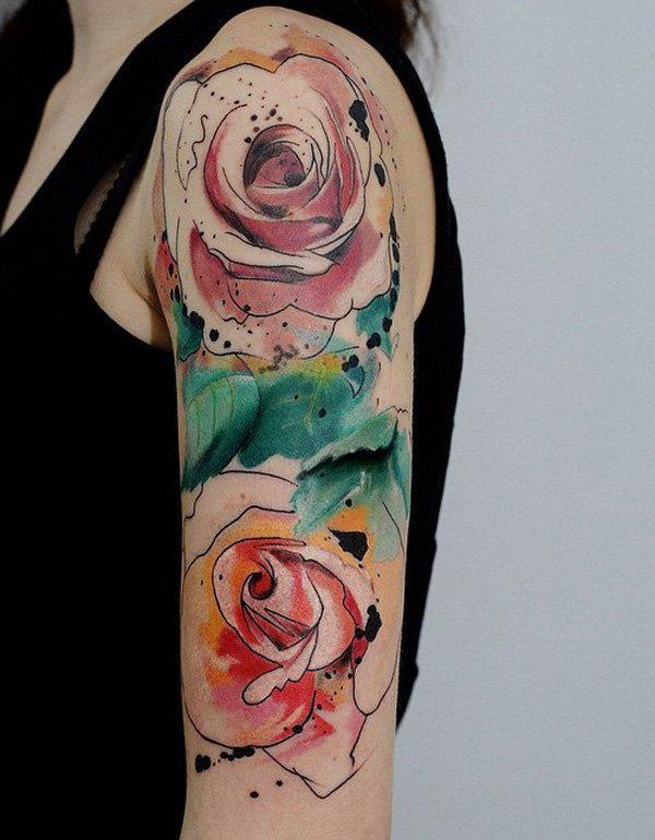 rose tattoo half sleeve tattoo in watercolor style