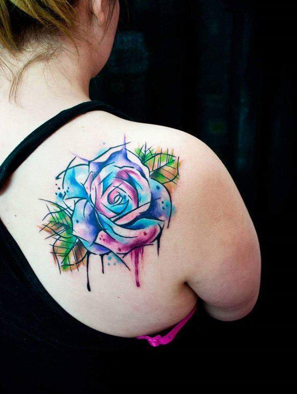 Watercolor rose on back