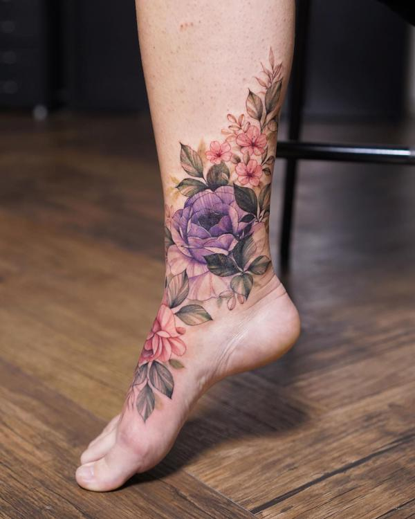 Rose bush tattoo on foot