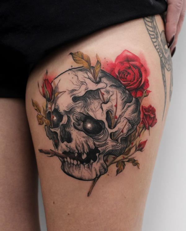 zombie head with roses tattoo