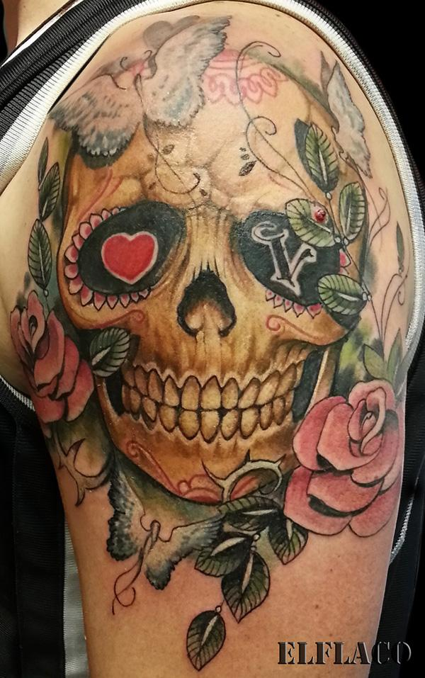 Sugar Skull Hand Tattoo