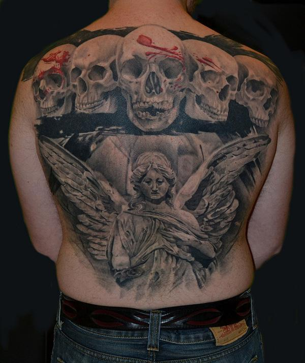 f845a6d353272 Angel and skull tattoo - 100 Awesome Skull Tattoo Designs <3 <3 ...
