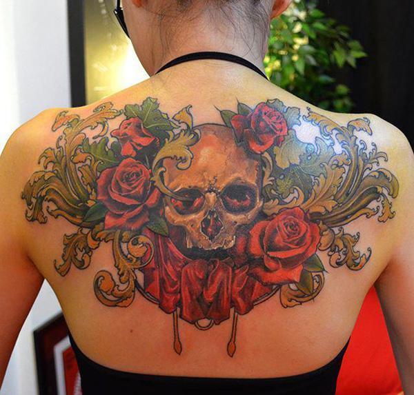 Red roses skull and swirls tattoo on black
