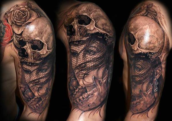 Veiled woman with skull headpiece tattoo