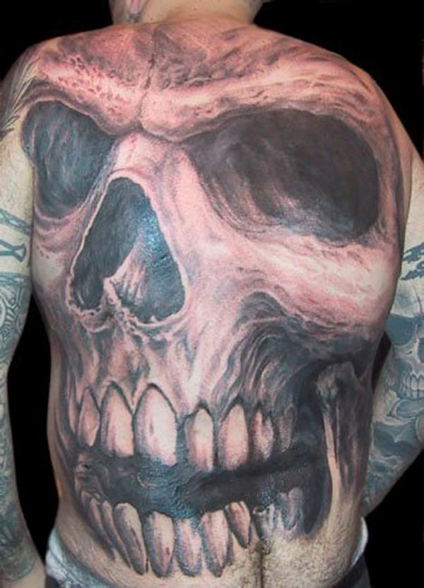 Giant skull fullback tattoo for men