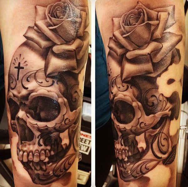 Sugar Skull with rose tattoo