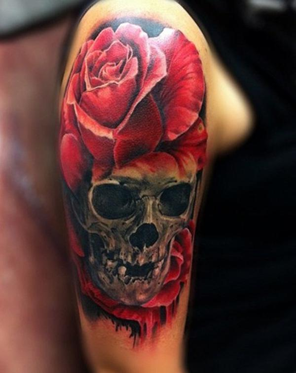 36c0aab961d04 Skull and roses tattoo - 100 Awesome Skull Tattoo Designs <3 <3 ...