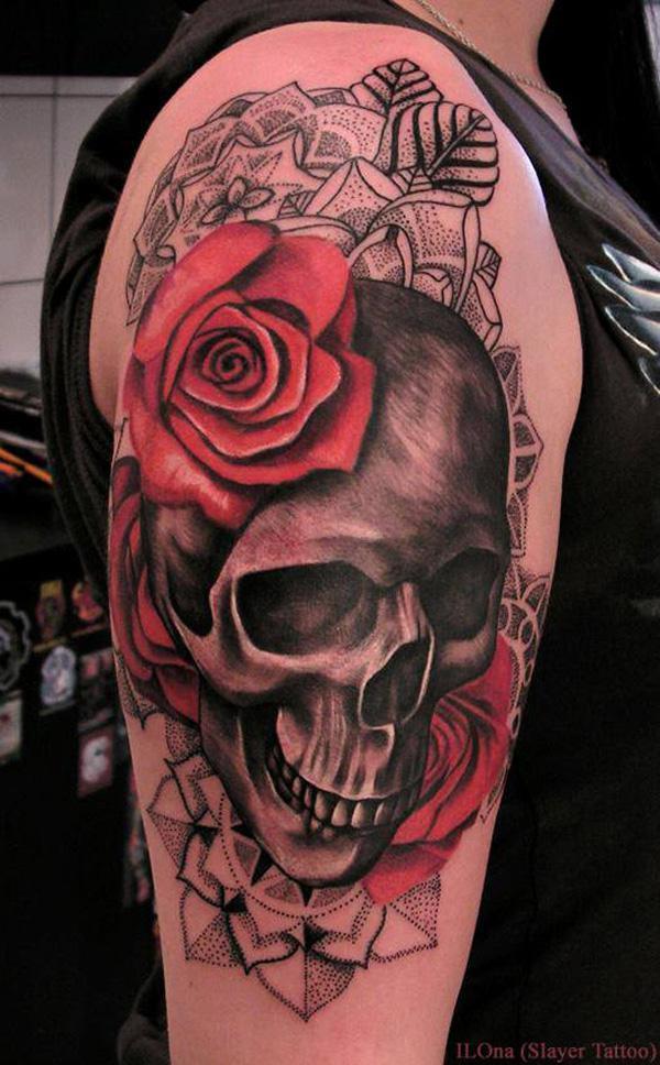 Skull và hoa hồng hình xăm - 100 ảnh vui nhộn Skull Tattoo Designs <3 <3