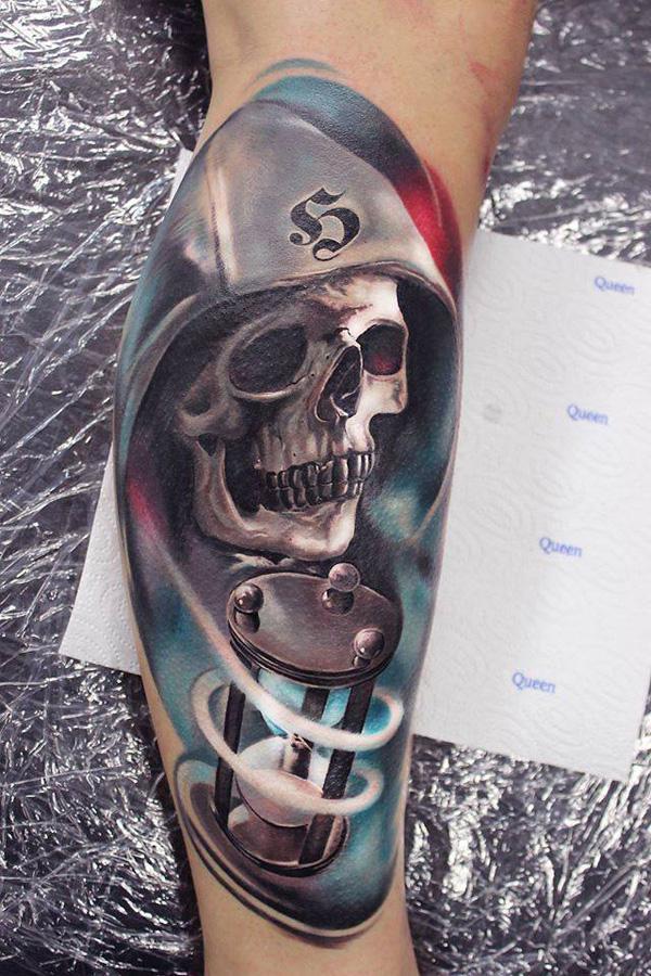 Skull wizard tattoo for men