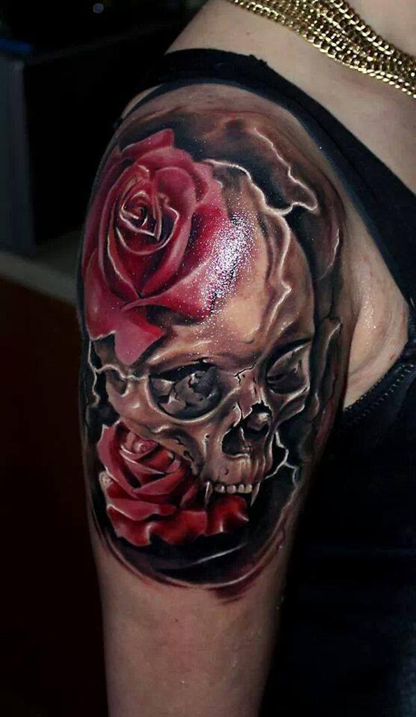 sleeve tattoo with Skull and two red roses for men