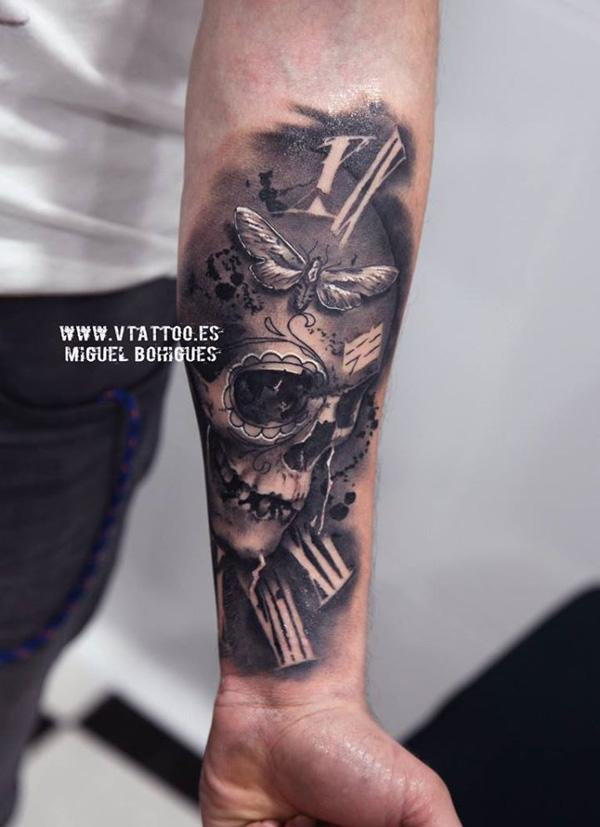 68-Skull with watch tattoo