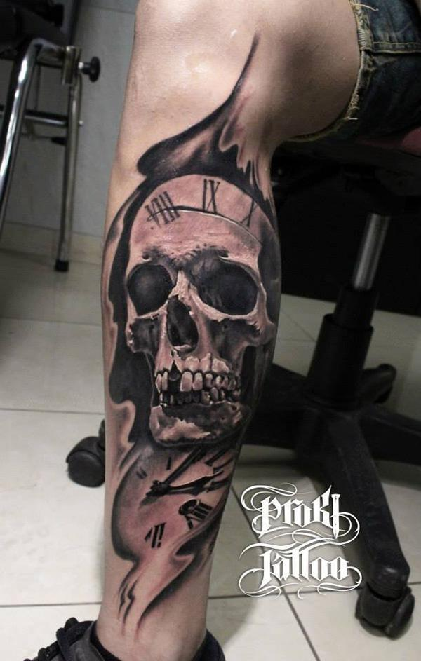 71-Skull with watch tattoo on leg for men