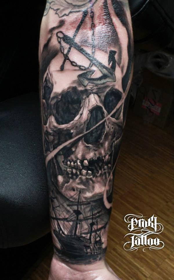 74-Skull with boat tattoo