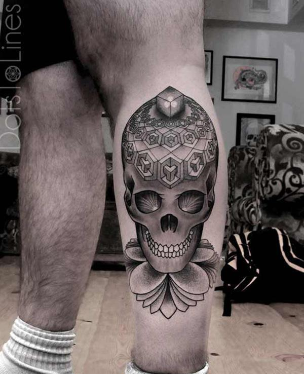 Sugar Skull tattoo on calf