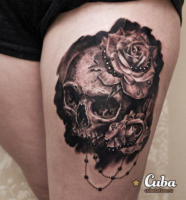 80-Skull with rose tattoo