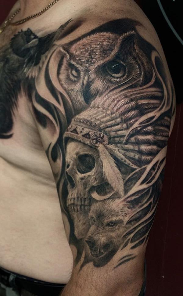 82-Owl with indian skull tattoo