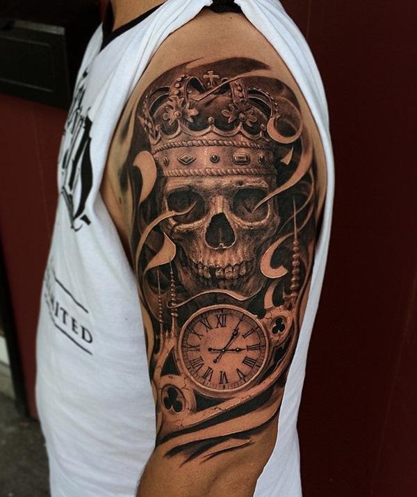 83-3D Skull with witch tattoo