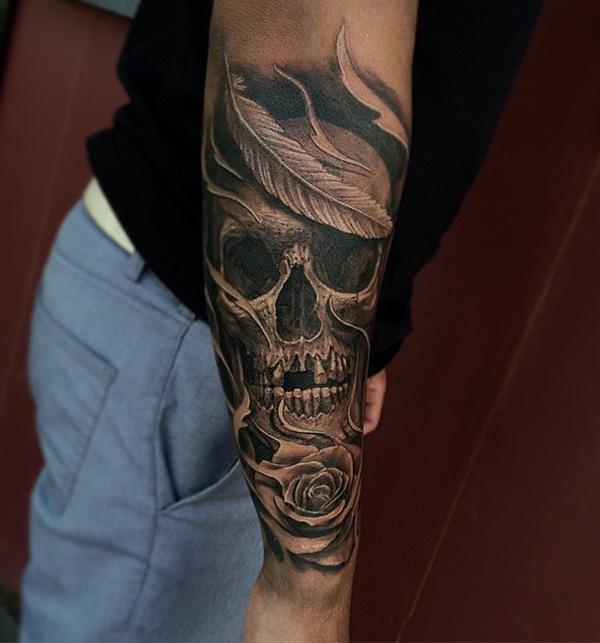 85-Skull tattoo on sleeve for men