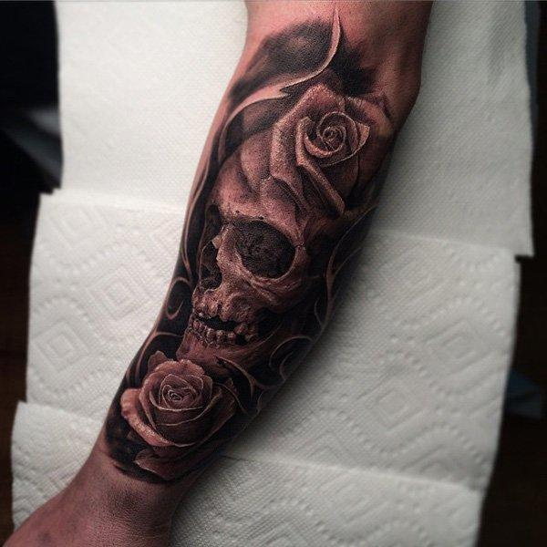 87-Beautiful skull with rose tattoo