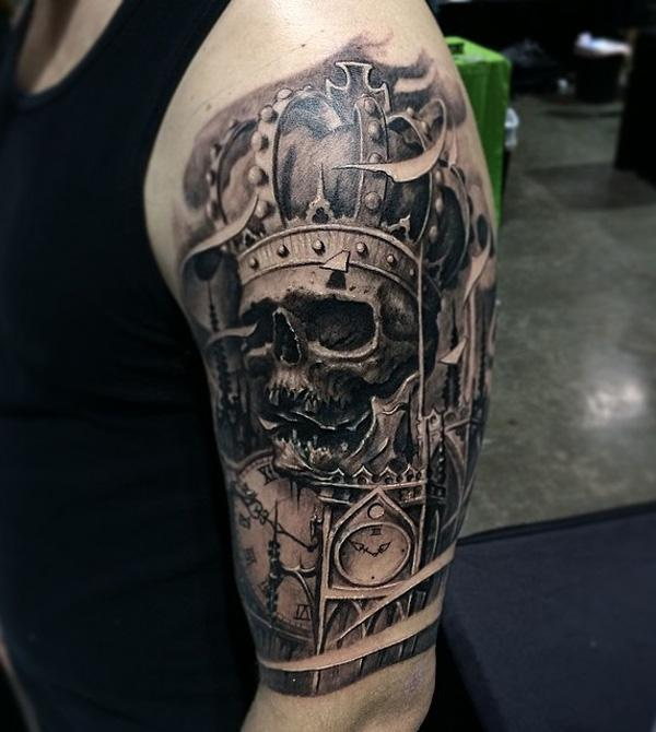 88-Skull and crown tattoo