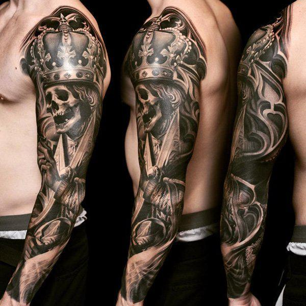 89-Skull and crown sleeve tattoo