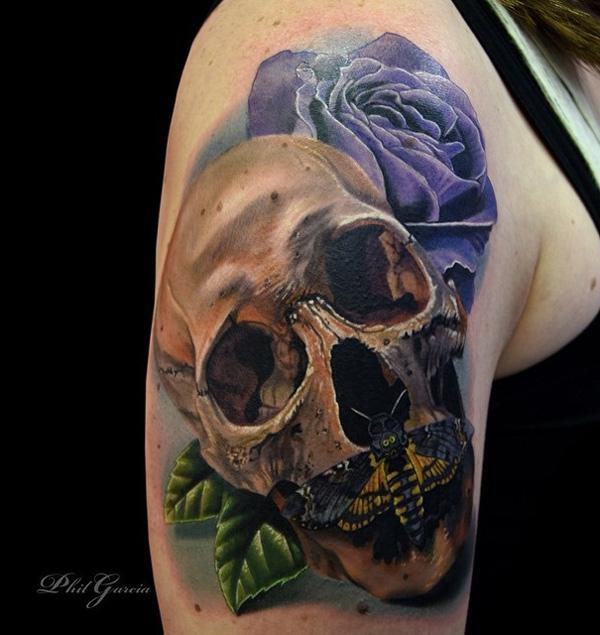 93-Skull with moths and rose tattoo