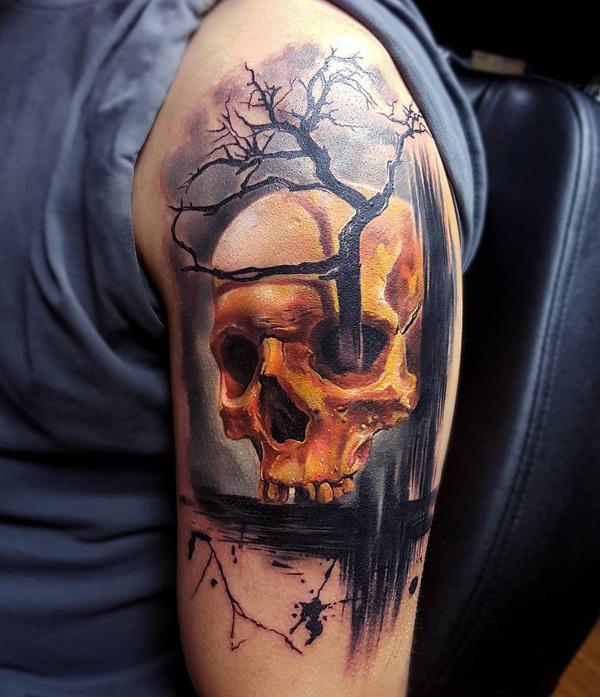 95 Skull and tree tattoo
