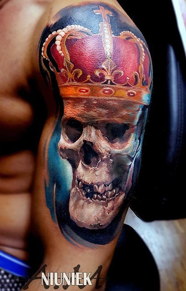 97-Skull with crown tattoo